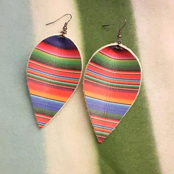 Southwestern Style Leather RainDrop Earrings